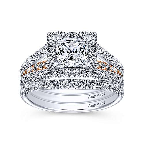18k White/rose Gold Princess Cut Halo Engagement Ring angle 4