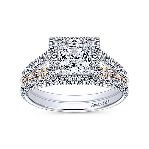 18k White/rose Gold Princess Cut Halo Engagement Ring angle 5