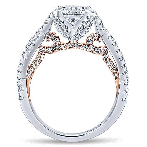 18k White/rose Gold Princess Cut Twisted Engagement Ring angle 2