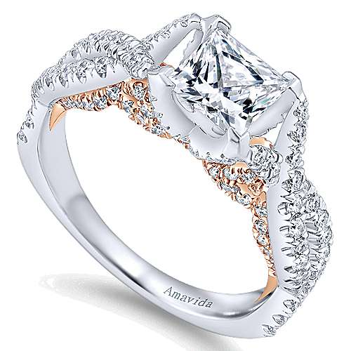 18k White/rose Gold Princess Cut Twisted Engagement Ring angle 3