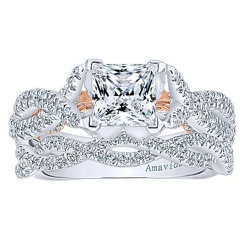 18k White/rose Gold Princess Cut Twisted Engagement Ring angle 4
