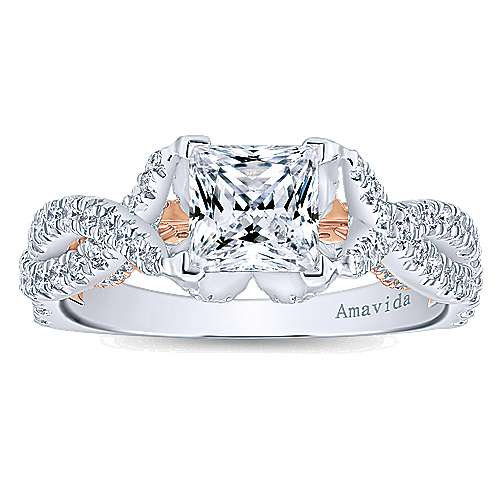 18k White/rose Gold Princess Cut Twisted Engagement Ring angle 5