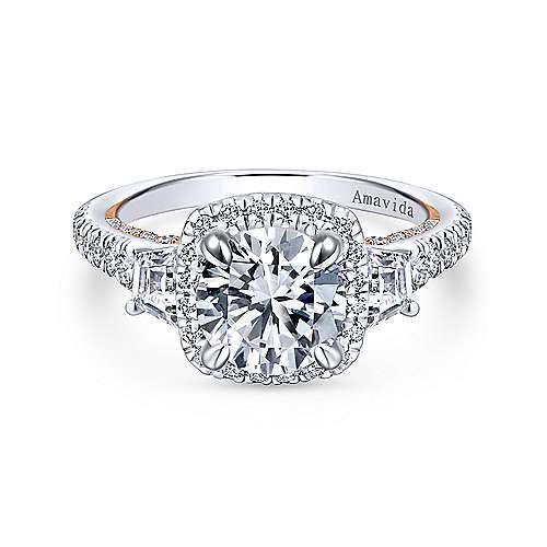 Gabriel - 18k White/rose Gold Round 3 Stones Halo Engagement Ring