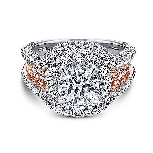 Gabriel - 18k White/rose Gold Round Double Halo Engagement Ring