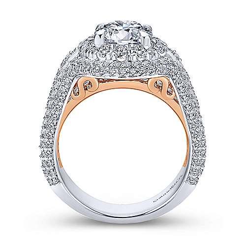 18k White/rose Gold Round Double Halo Engagement Ring angle 2