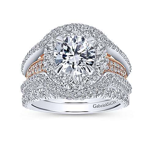 18k White/rose Gold Round Double Halo Engagement Ring angle 4
