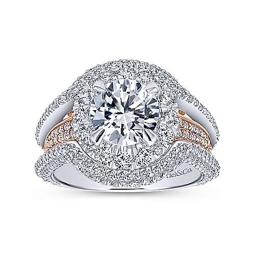 18k White/rose Gold Round Double Halo Engagement Ring angle 5