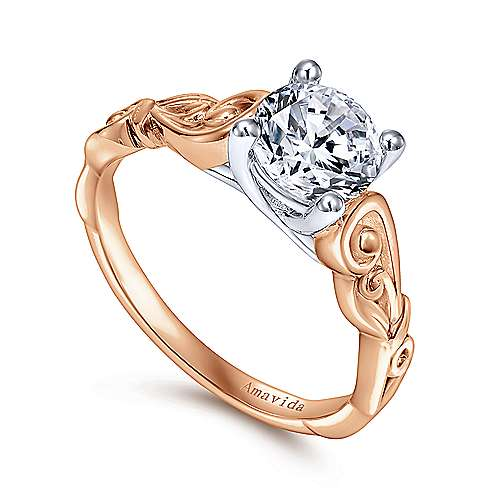 18k White/rose Gold Round Free Form Engagement Ring angle 3