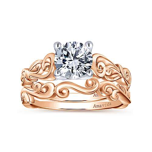 18k White/rose Gold Round Free Form Engagement Ring angle 4