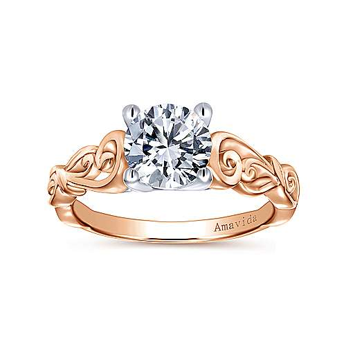 18k White/rose Gold Round Free Form Engagement Ring angle 5
