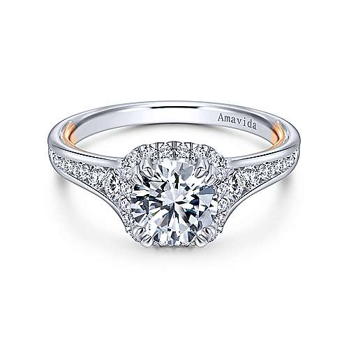 Gabriel - 18k White/rose Gold Round Halo Engagement Ring