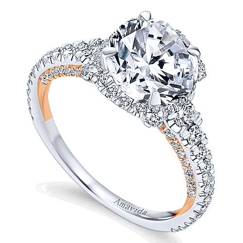 18k White/rose Gold Round Halo Engagement Ring angle 3