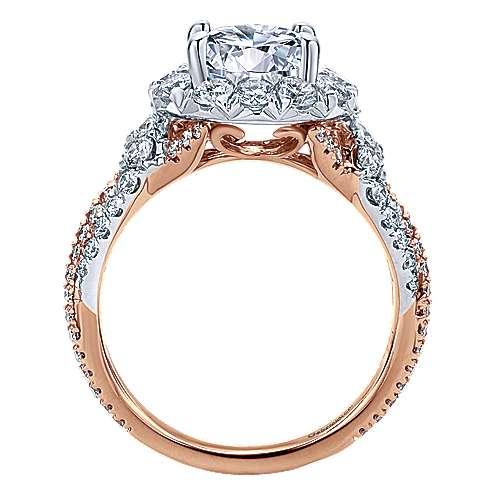 18k White/rose Gold Round Halo Engagement Ring angle 2