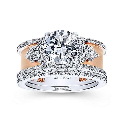 18k White/rose Gold Round Halo Engagement Ring angle 4