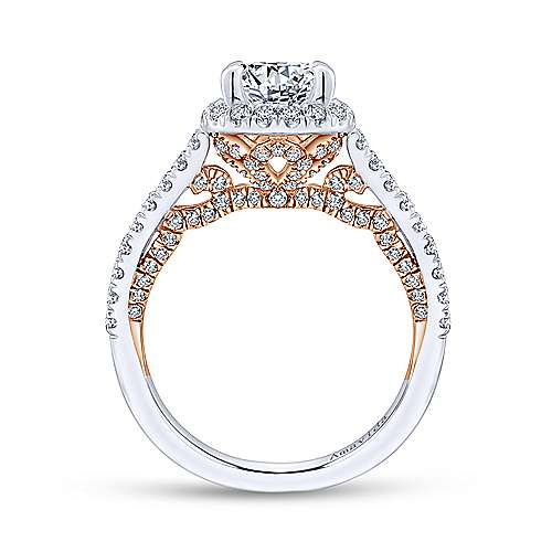 18k White/rose Gold Round Halo Engagement Ring angle 2