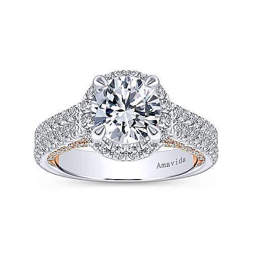 18k White/rose Gold Round Halo Engagement Ring angle 5