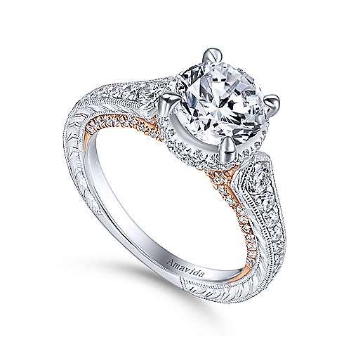 18k White/rose Gold Round Halo Engagement Ring angle 3