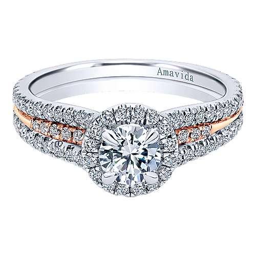 Gabriel - 18k White/rose Gold Round Halo Engagement Ring