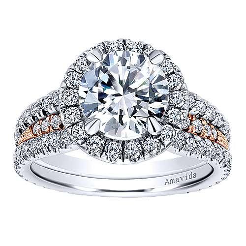 18k White/rose Gold Round Halo Engagement Ring angle 5