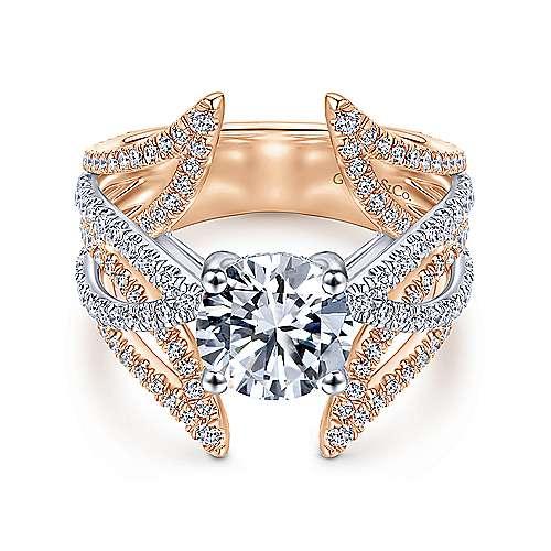Gabriel - 18k White/rose Gold Round Split Shank Engagement Ring