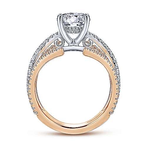 18k White/rose Gold Round Split Shank Engagement Ring angle 2