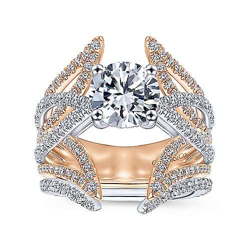 18k White/rose Gold Round Split Shank Engagement Ring angle 4