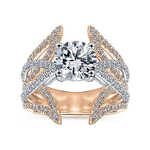 18k White/rose Gold Round Split Shank Engagement Ring angle 5