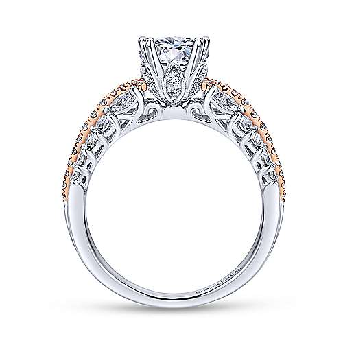 18k White/rose Gold Round Straight Engagement Ring angle 2