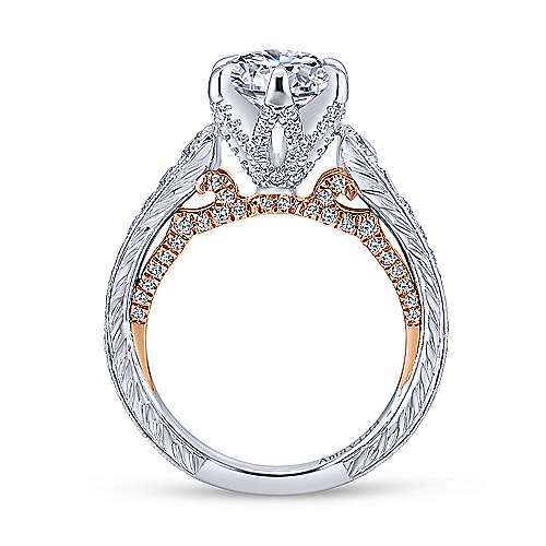 18k White/rose Gold Round Straight Engagement Ring angle 2