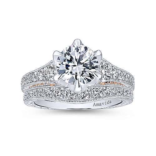 18k White/rose Gold Round Straight Engagement Ring angle 4
