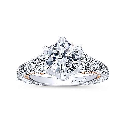 18k White/rose Gold Round Straight Engagement Ring angle 5