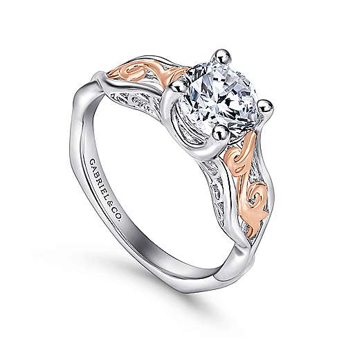 18k White/rose Gold Round Twisted Engagement Ring angle 3