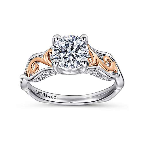 18k White/rose Gold Round Twisted Engagement Ring angle 5