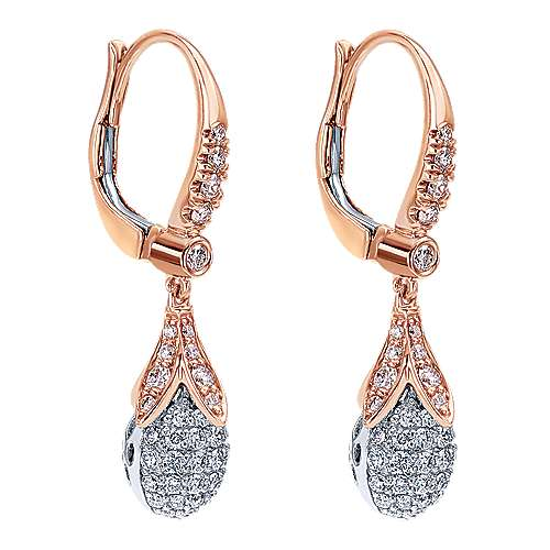 18k White/rose Gold Silk Drop Earrings angle 2