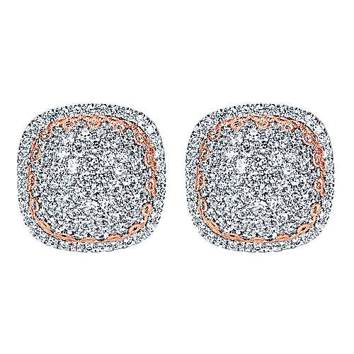 18k White/Rose Gold  Stud