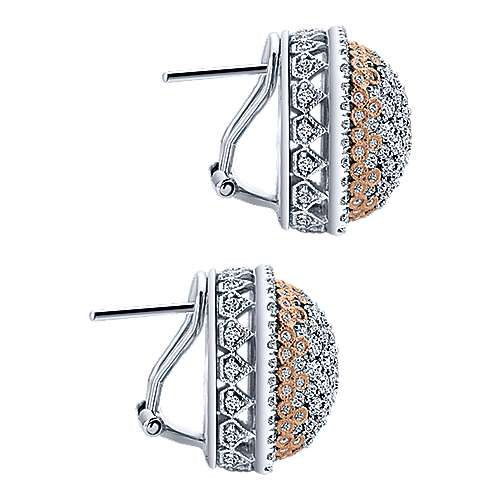 18k White/rose Gold Silk Stud Earrings angle 3