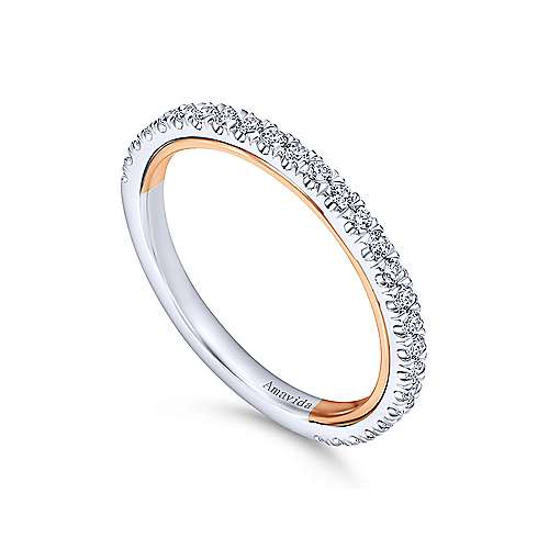 18k White/rose Gold Victorian Straight Wedding Band angle 3