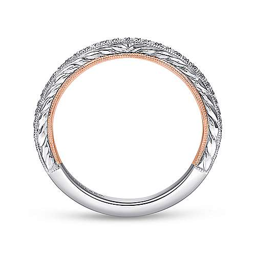 18k White/rose Gold Victorian Straight Wedding Band angle 2