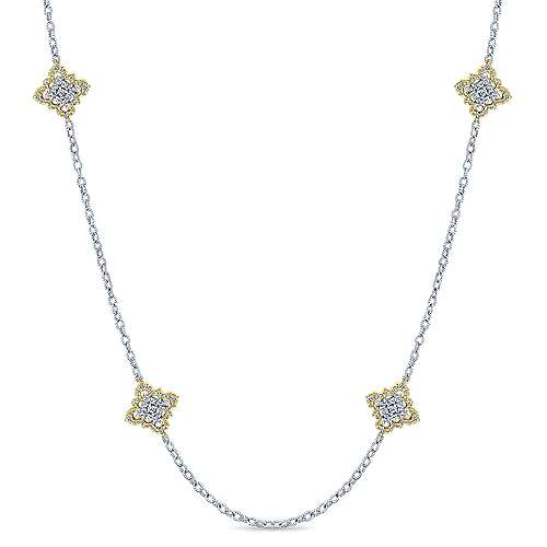 18k Yellow And White Gold Endless Diamonds Station Necklace angle 1
