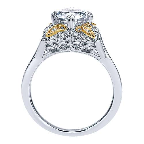 18k Yellow And White Gold Round Halo Engagement Ring angle 2