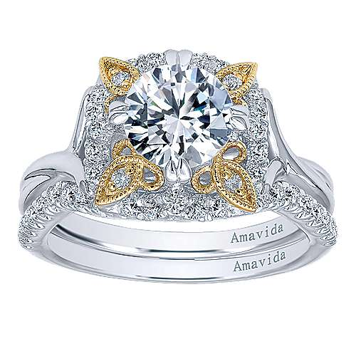 18k Yellow And White Gold Round Halo Engagement Ring angle 4