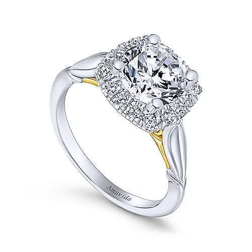 18k Yellow And White Gold Round Halo Engagement Ring angle 3