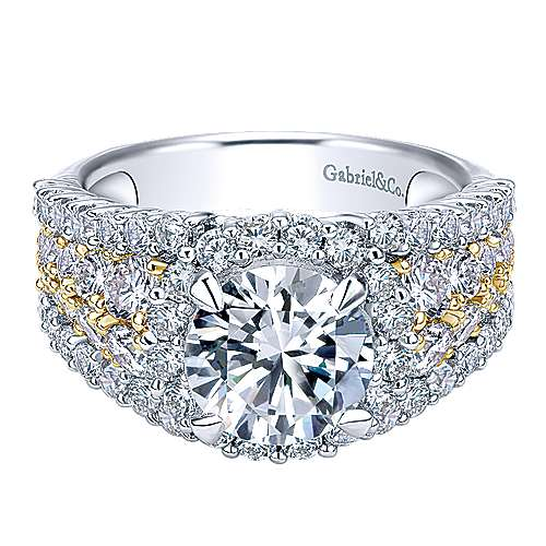 Gabriel - 18k Yellow And White Gold Round Halo Engagement Ring