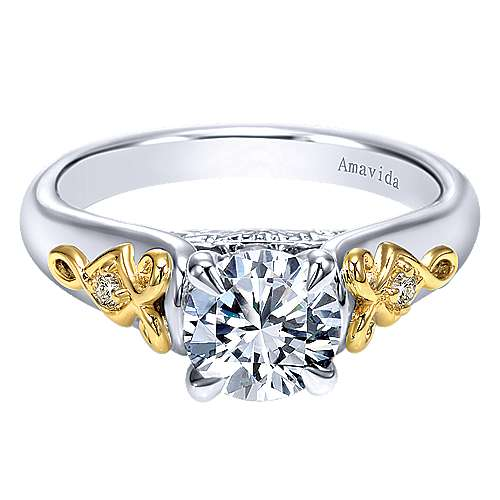 Gabriel - 18k Yellow And White Gold Round Straight Engagement Ring