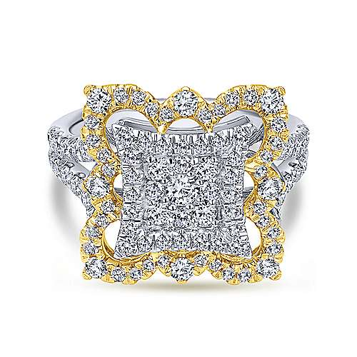 18k Yellow And White Gold Victorian Fashion Ladies' Ring angle 1