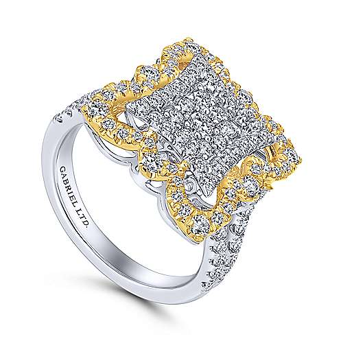 18k Yellow And White Gold Victorian Fashion Ladies' Ring angle 3
