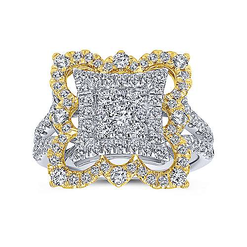 18k Yellow And White Gold Victorian Fashion Ladies' Ring angle 4
