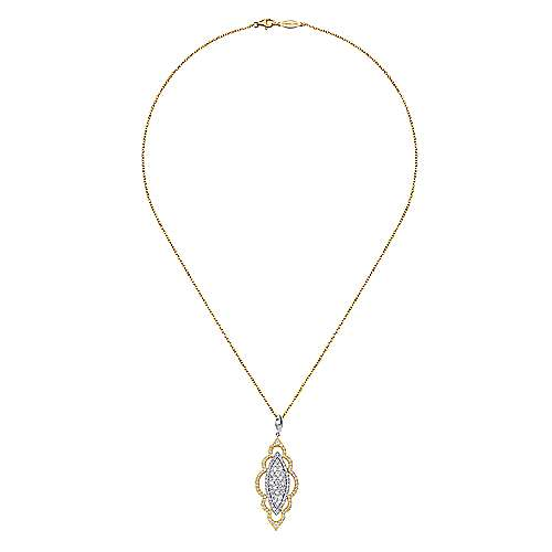 18k Yellow And White Gold Victorian Fashion Necklace angle 2