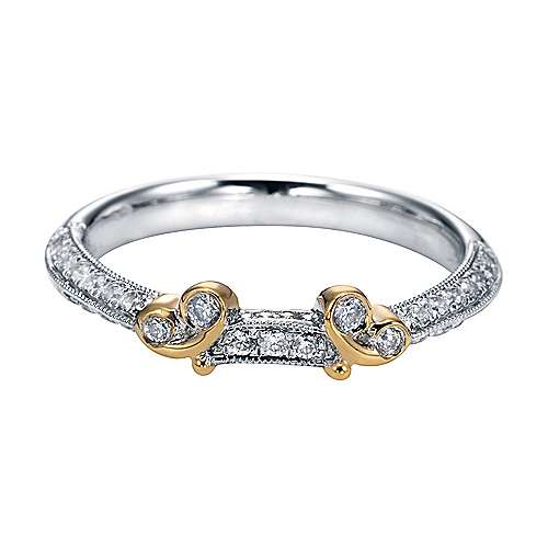 Gabriel - 18k Yellow And White Gold Victorian Straight Wedding Band