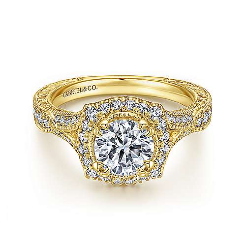 Gabriel - 18k Yellow Gold Victorian Engagement Ring